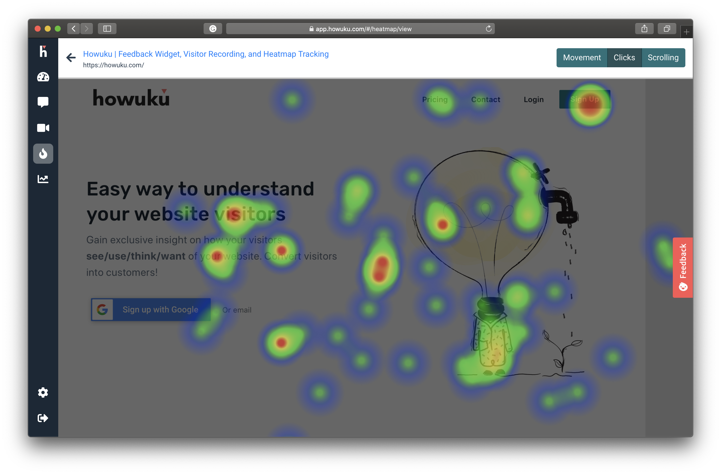 Reveal where website visitors click with heatmap tracking